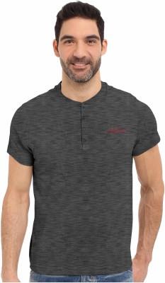 HD Hunter Douglas Solid Men's Henley Black T-Shirt