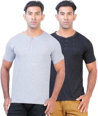 Click Hit Solid Men's Henley Grey, Black T-Shirt