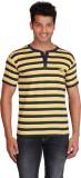 Right Shape Striped Men's Henley Yellow,...