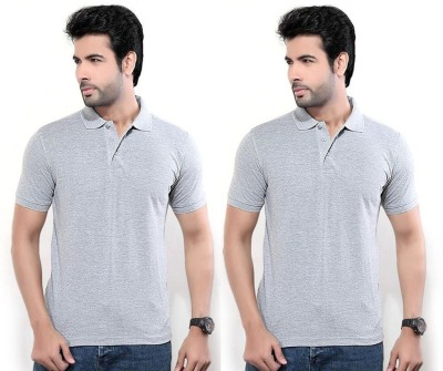 Louis Mode Solid Men's Polo Neck Grey T-Shirt