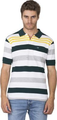 DUKE Striped Men's Polo Neck Dark Green T-Shirt