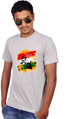 Amla Printed Men's Round Neck Grey T-Shirt
