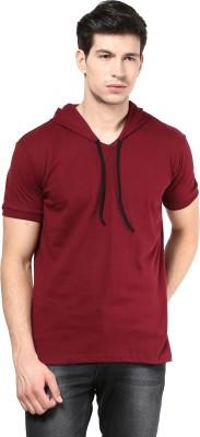 Izinc Solid Men's Hooded Maroon T-Shirt