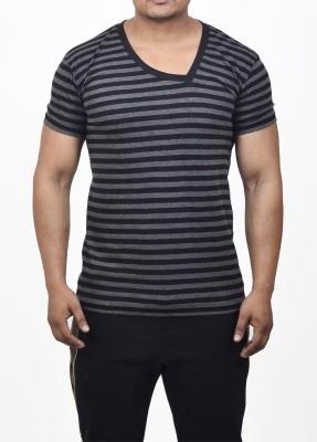 FugazeeLifestyle Striped Men's V-neck Grey, Black T-Shirt