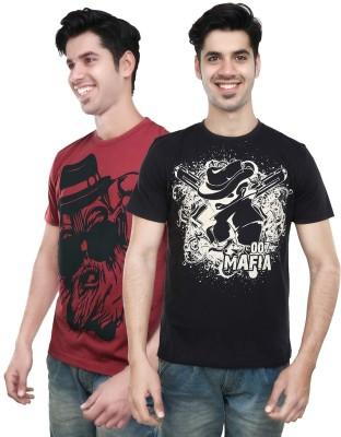 Algotton Graphic Print Men,s Round Neck Black, Maroon T-Shirt
