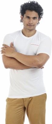 Shapers Solid Men's Round Neck White T-Shirt