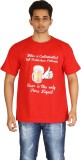 Leep Printed Men's Round Neck Red T-Shir...