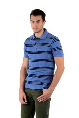 Mudo Striped Men's Polo Neck Blue T-Shirt