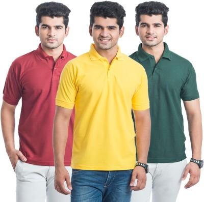 Eprilla Solid Men,s Polo Neck Maroon, Dark Green, Yellow T-Shirt
