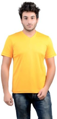 DS WORLD Solid Men's V-neck Yellow T-Shirt