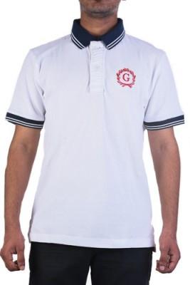 Garushi Solid Men's Polo Neck Reversible White T-Shirt
