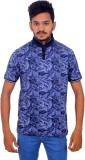 BOMBAY BLUES Printed Men's Polo Neck Dar...