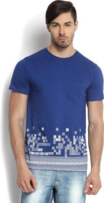 Kingaroo Printed Men's Round Neck Blue T-Shirt