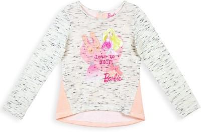 Barbie Graphic Print Girl's Round Neck Grey, Orange T-Shirt