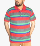 GouGas Striped Men's Polo Neck Red T-Shi...