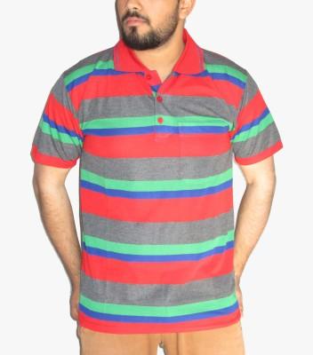 GouGas Striped Men's Polo Neck Red T-Shirt