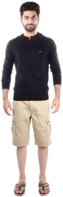 Indian Terrain Striped Men's Henley Black T-Shirt