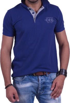 Cotton & Blends Solid Men's Polo Neck Dark Blue T-Shirt