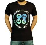 1OhOne Printed Men's Round Neck Black T-...