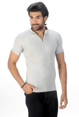 Magiq Self Design Men's Round Neck Silver T-Shirt