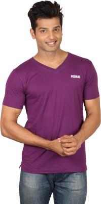 Poshuis Solid Men's V-neck Purple T-Shirt