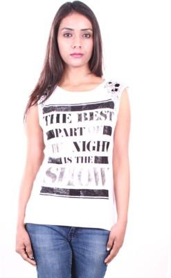 AR2 Embroidered Women's Round Neck White T-Shirt