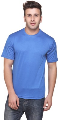Funky Guys Solid Men's Round Neck Light Blue T-Shirt