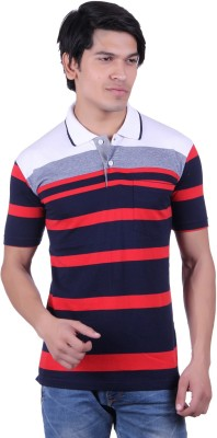 Dark Navy Striped Men's Polo Neck T-Shirt