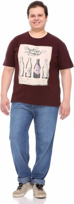 PlusS Printed Men's Round Neck Brown T-Shirt