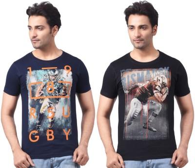 Motiv8Jeans Graphic Print, Geometric Print Men's Round Neck Black, Dark Blue T-Shirt