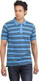 Moxi Striped Men's Polo Neck Blue T-Shir...