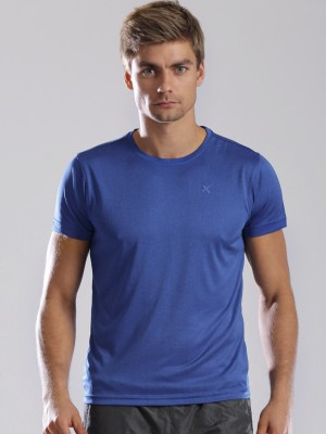 HRX Solid Men's Round Neck Blue T-Shirt