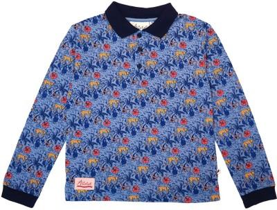 Aristot Animal Print Boy,s Polo Neck Blue T-Shirt