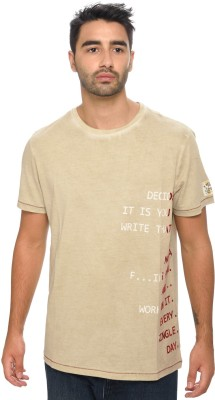 Be Pure Printed Men's Round Neck Beige T-Shirt