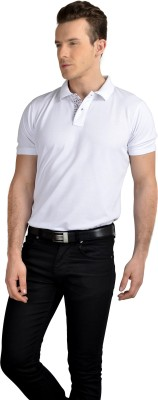 Pacific Time Solid Men's Polo Neck White T-Shirt