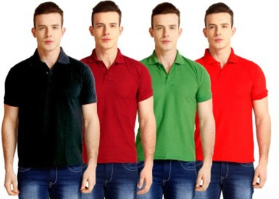 Larwa Solid Men's Polo Neck Black, Green, Maroon, Red T-Shirt