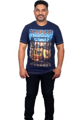 Xmex Graphic Print Men's Round Neck Blue T-Shirt