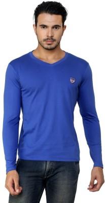 Free Spirit Solid Men's V-neck Blue T-Shirt