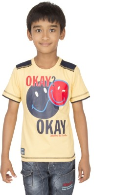 Ocean Race Printed Boy's Round Neck Yellow, Blue T-Shirt