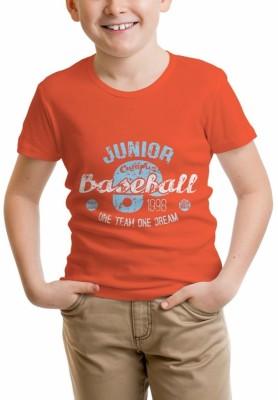 Nahshonbaby Graphic Print Boy's Polo Neck Orange T-Shirt