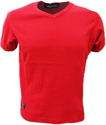Groviano Solid Men's V-neck Red T-Shirt