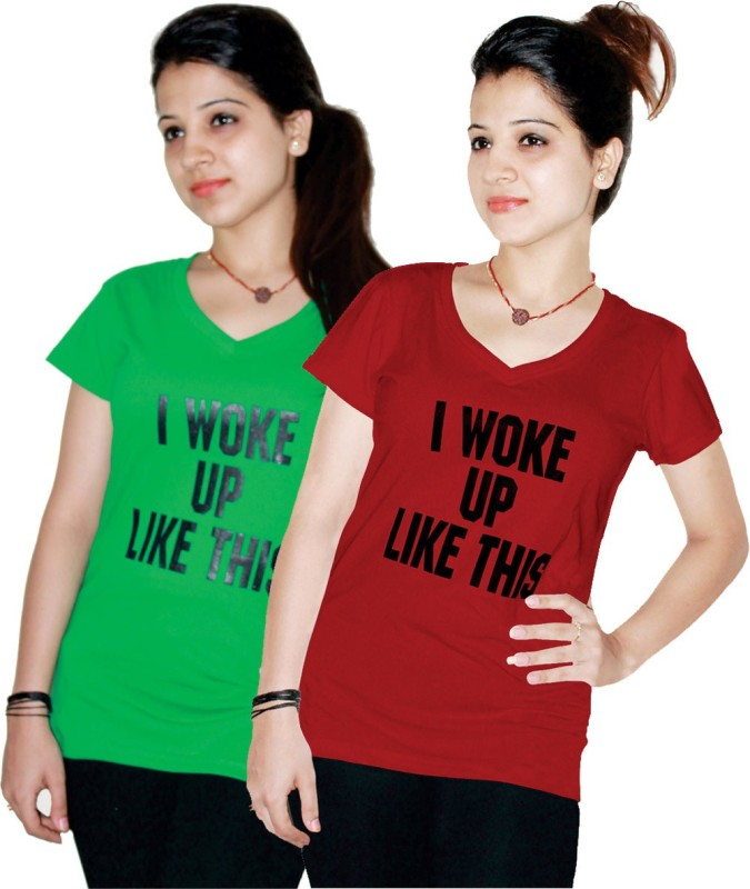 Xarans Printed Women's V-neck Red, Green T-Shirt(Pack of 2)