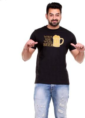 Clotone Printed Men's Round Neck Black T-Shirt