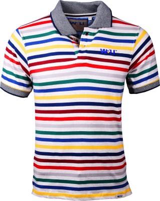 Wali Striped Men's Polo Neck Multicolor T-Shirt