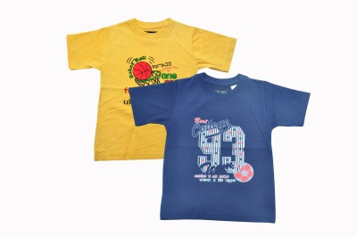 Mintees Graphic Print Boy's Round Neck Dark Blue, Yellow T-Shirt