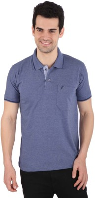 Illicit Nation Solid Men's Flap Collar Neck Light Blue T-Shirt