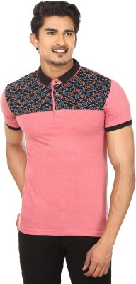 Modish vogue Solid Men's Flap Collar Neck Pink, Black T-Shirt