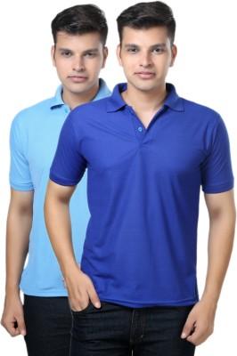 eSOUL Solid Men's Polo Neck Blue, Light Blue T-Shirt