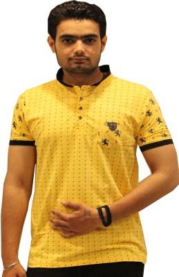 GOPAL EMPORIUM Printed Men's Mandarin Collar Yellow T-Shirt