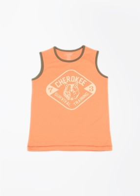 Cherokee Printed Boy's Round Neck Orange T-Shirt